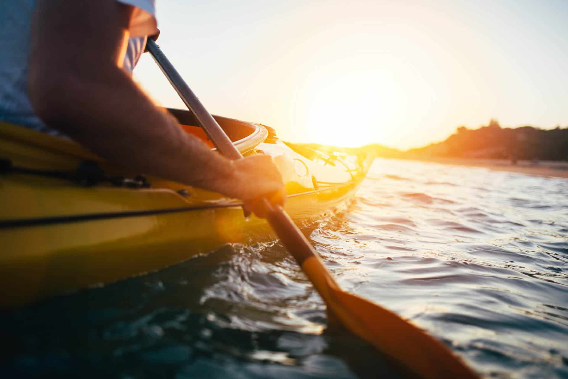 Paddling the kayak